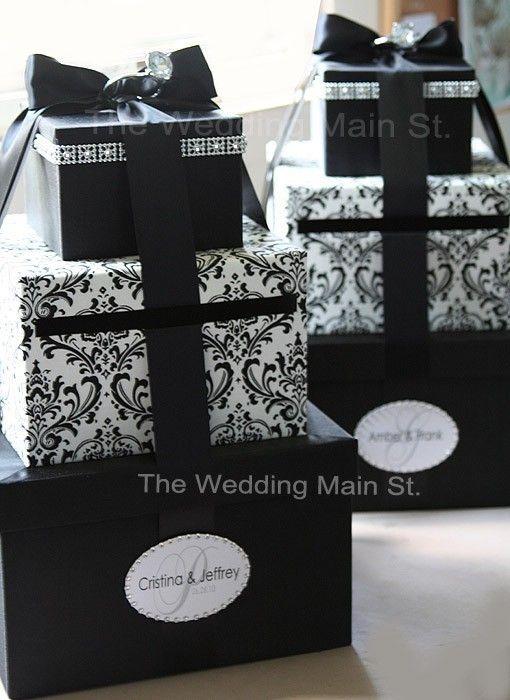 Black Card Box Wedding Money Holder Bo Gift Wish Wishing Well Damask