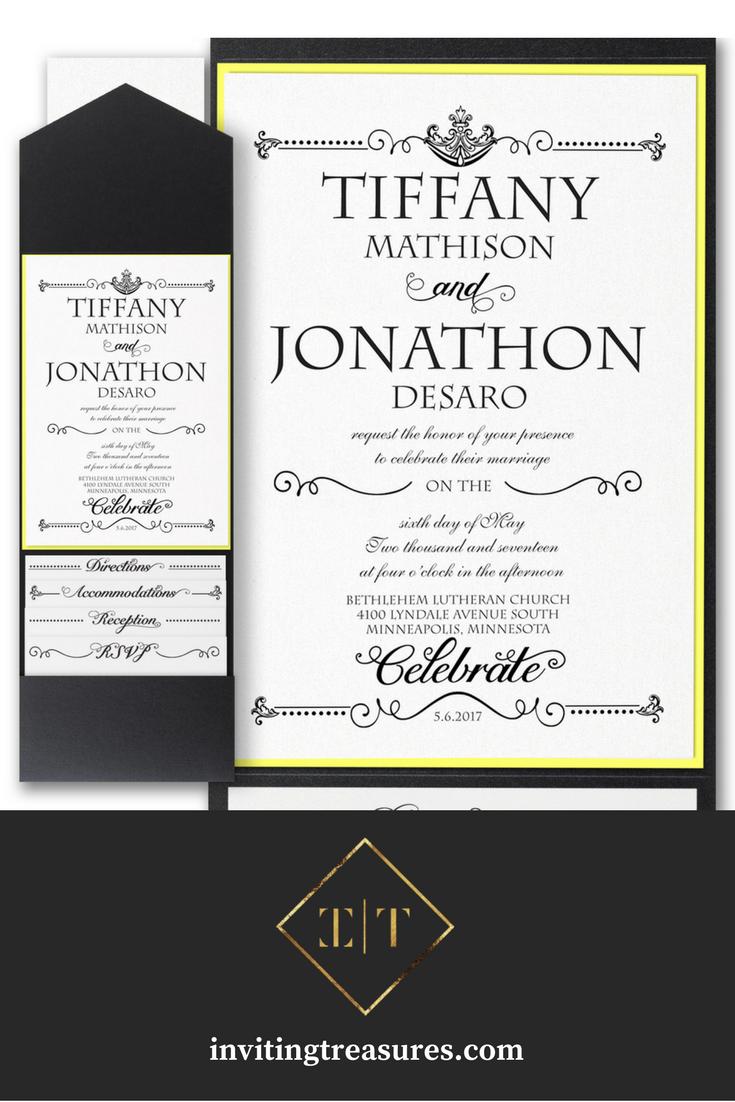 Black and yellow wedding invitations | Simple elegant wedding pocket ...