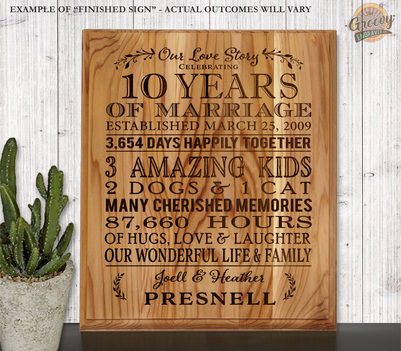 Anniversary Gift For Wife Custom Wedding Anniversary Engraved Personalized Wood Sign F Anniversary Gifts For Wife Wood Anniversary Gift 25th Anniversary Gifts