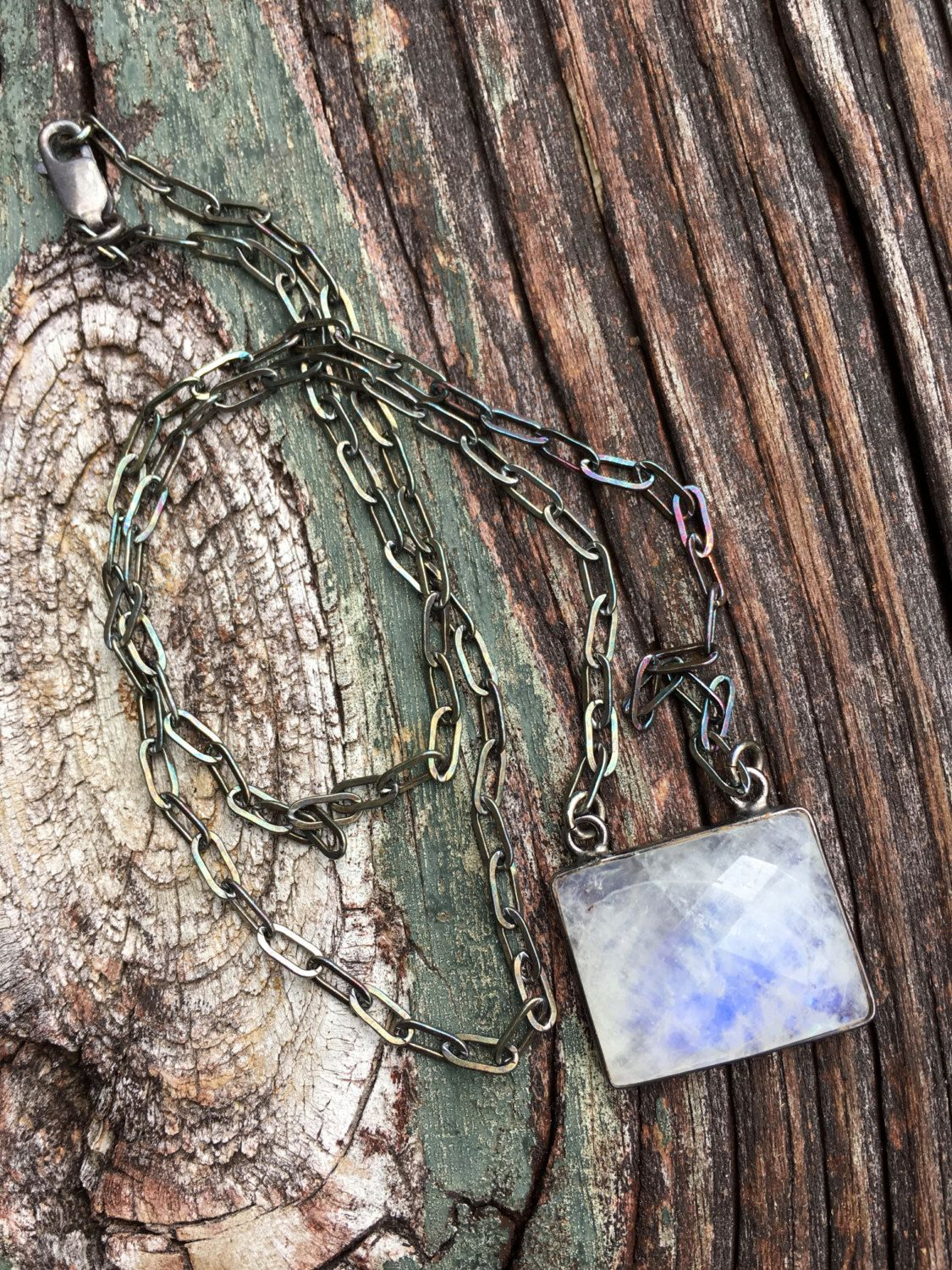 Bohemian Oxidized Sterling Necklace Moonstone Pendant by SeeJanesBeads by SeeJanesBeads on Etsy