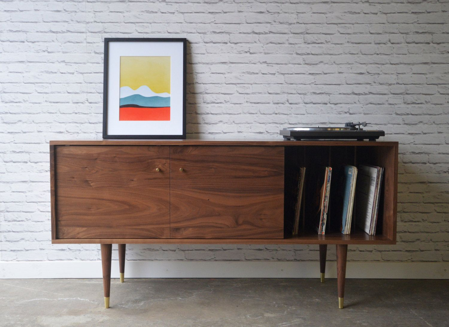 Solid Walnut Media Credenza With Record Storage Kasse Etsy Record Storage Cabinet Turntable Furniture Mid Century Sideboard