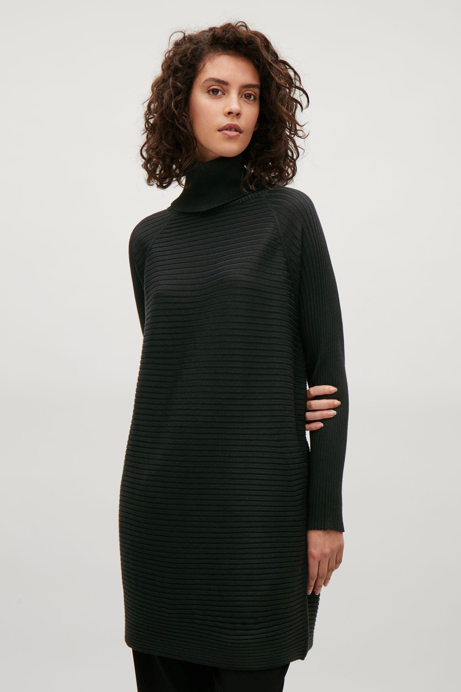 Cos image of merino rollneck dress in black autumn winter
