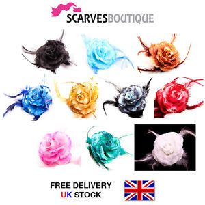 Flower Feather Bead Organza Corsage Hair Clips Fascinator * 10 Colours *