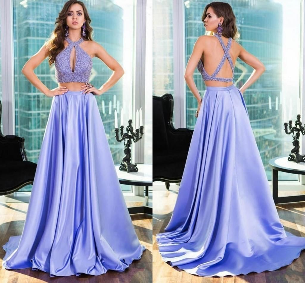 2016 Lavender Two Pieces Prom Dresses Keyhole Neck Sexy Back Long