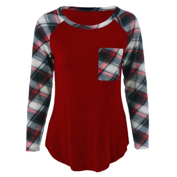 8978a8ac4d6 Single Pocket Plaid Full Sleeve T-Shirt in 2018