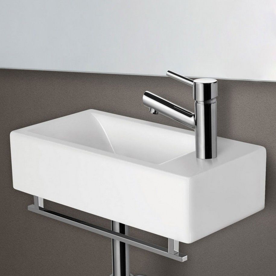 Alfi Small Modern Rectangular Wall Mounted Ceramic Bathroom Sink Basin With Porcelain And 1 Inch Center Drain In White