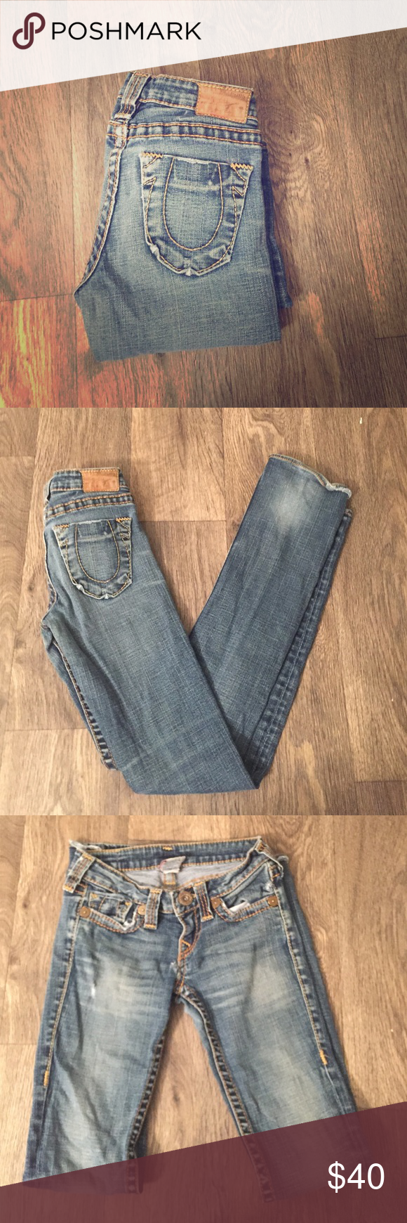 True Religion jeans True religion straight leg jeans, size 25. Hole in front of jeans as shown in picture 4 which is why they are priced lower, still super cute jeans and they have the original hem, make an offer! :) True Religion Jeans Straight Leg