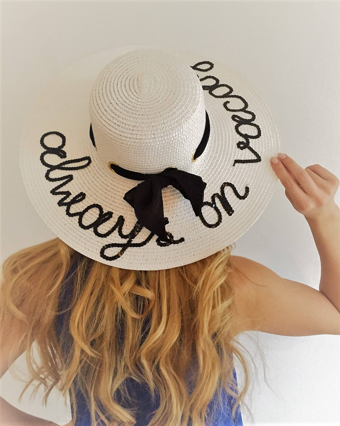 Always on Vacay Hat Black and White Beach Hat Sequin e1cf8f75ed3