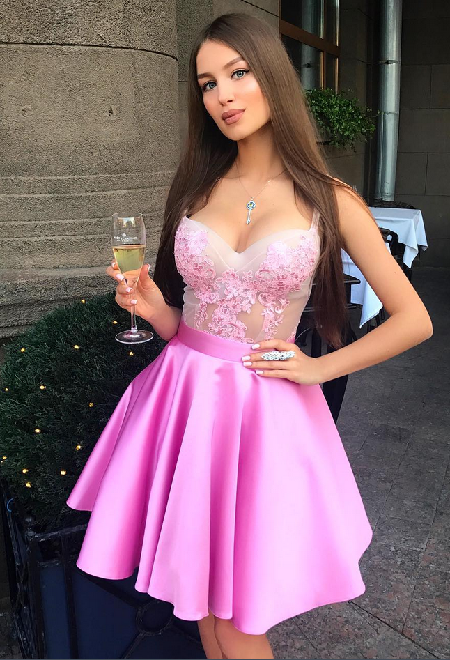 Pink Satin Appliques Prom Dresses Short Homecoming | Amazing prom ...
