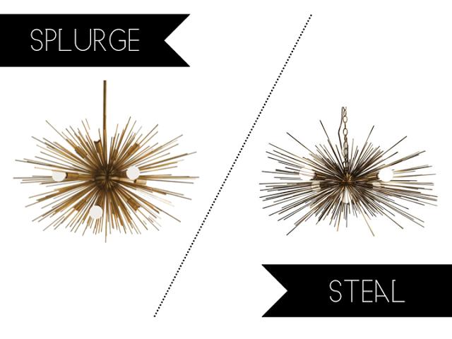 Splurge Vs Steal Gold Urchin Chandelier Etsy Arteriors Light