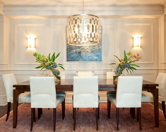 clean, transitional dining room : chandelier : wall ... on Living Room Wall Sconce Ideas For Dining Area id=77705
