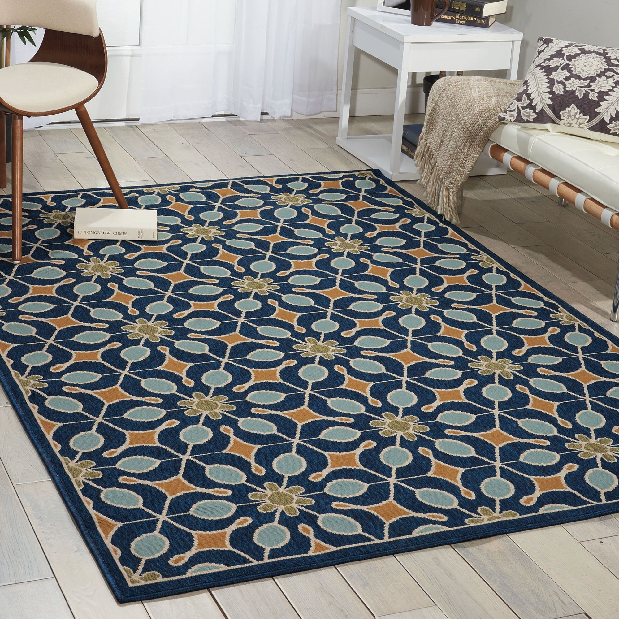Nourison Caribbean Indoor Outdoor Navy Blue Rug 5 3 X 7 5 5 3