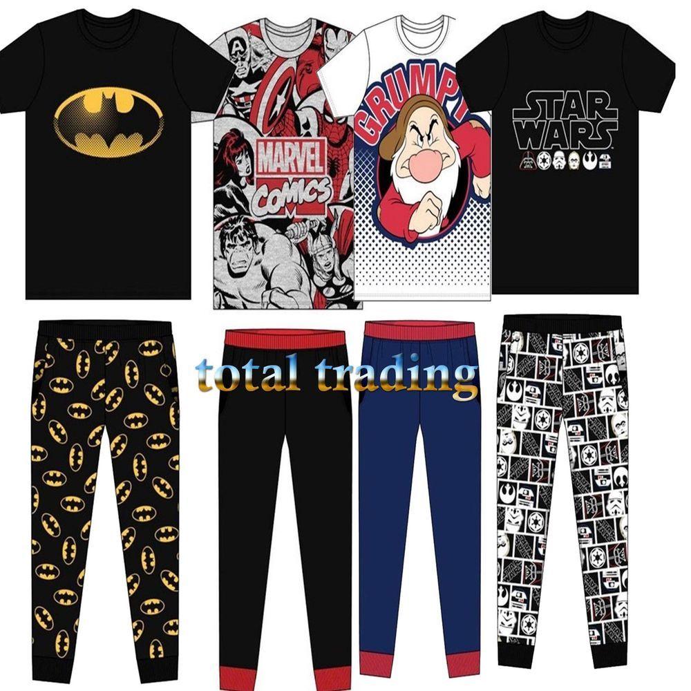 Mens Character Cotton Long Pyjamas DC Marvel Star Wars Transformers Harry Potter