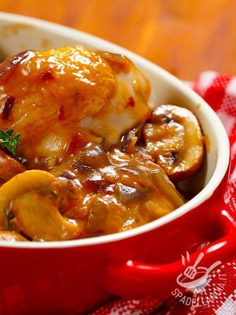 Photo of Sweet and sour chicken with mushrooms and onions
