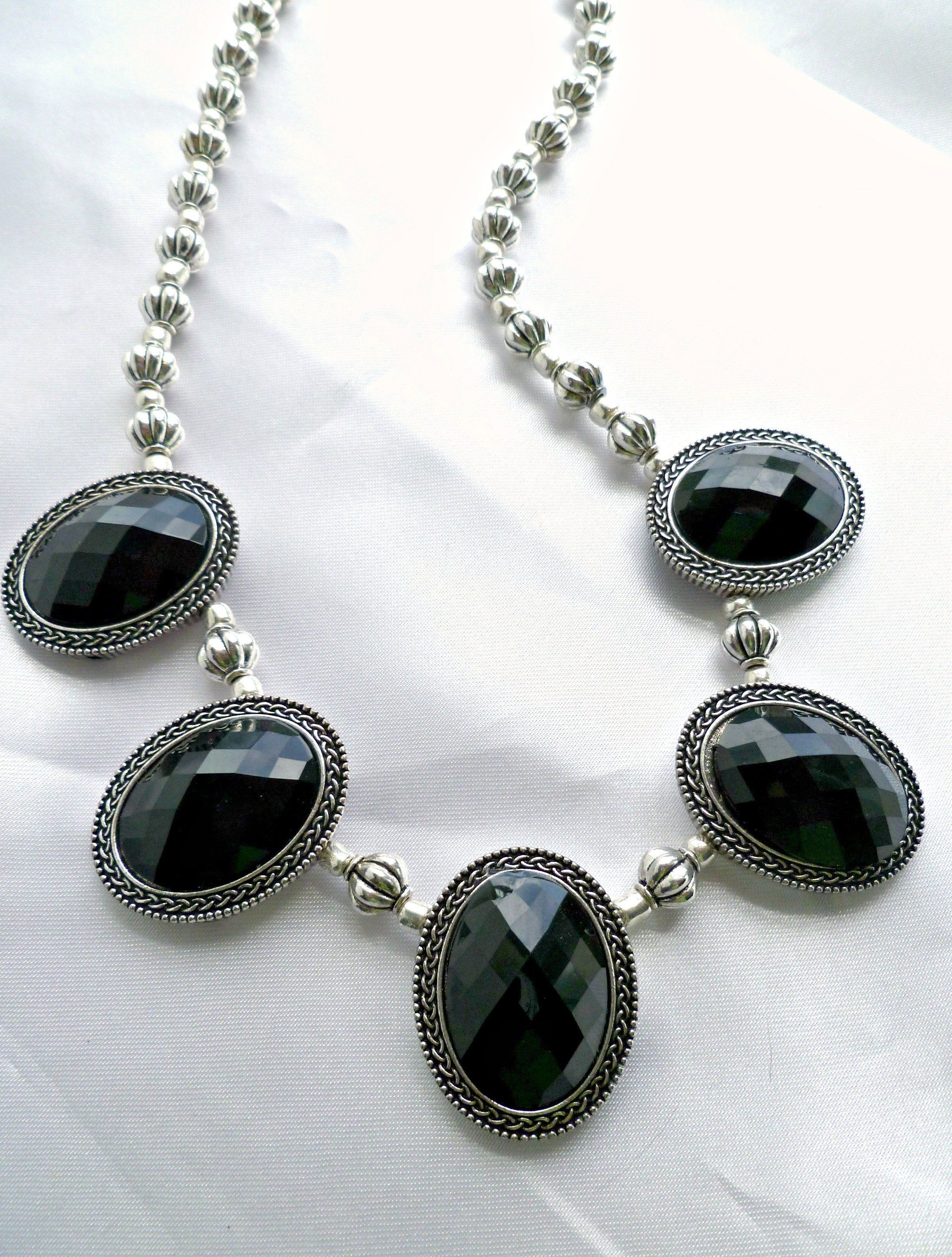 Black and silver medallion choker necklace statement