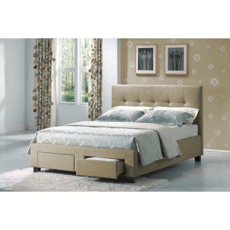 Sydney Bed (Headboard,Footboard,Rails,Slats) Fabric Linen-Finish ...