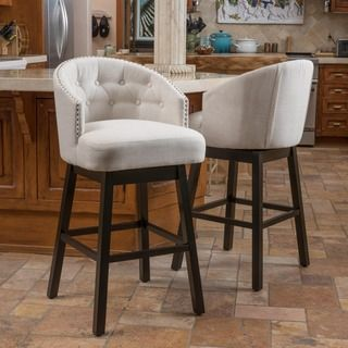 Margo Linen Fabric Tufted Wing-back Counter Stool - 16629752 ...