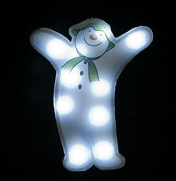 Raymond Briggs The Snowman Christmas Tree Decorations: Snowman Window Sucker With 10 Ice White LEDs #Christmas