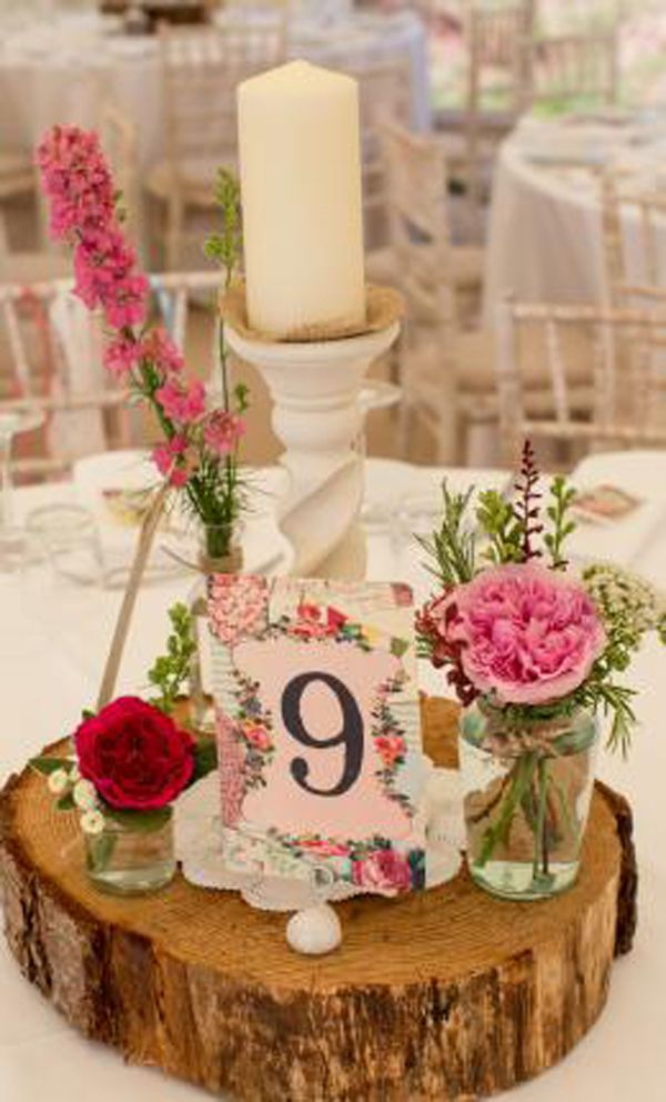 rustic wedding log tree wooden slice slab trunk decoration