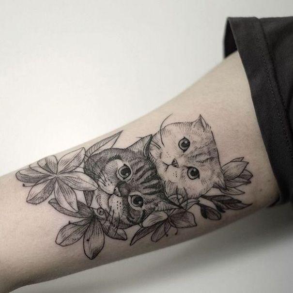 75 sch ne katze tattoos f r frauen cat kn chel. Black Bedroom Furniture Sets. Home Design Ideas