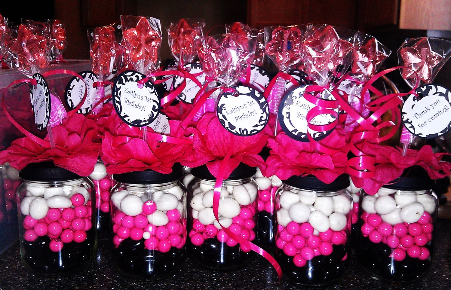 Personalized pink white & black Baby Food Jar Party Favors ...
