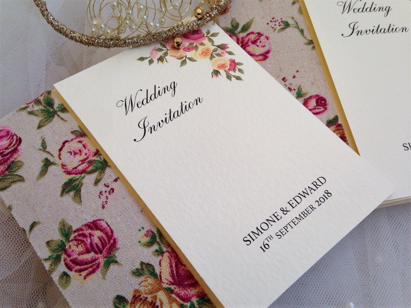 Vintage Rose Wedding Invitations just £1.95 each. Free envelopes and ...