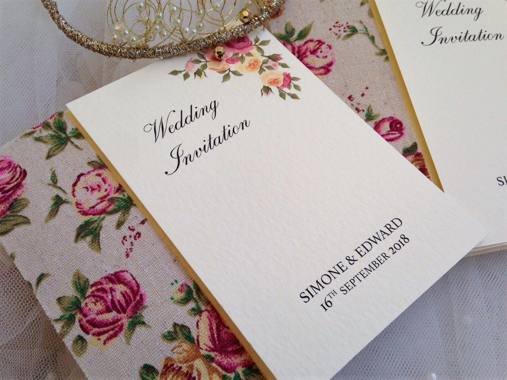 Vintage Rose Wedding Invitations just £1.95 each. Free envelopes ...