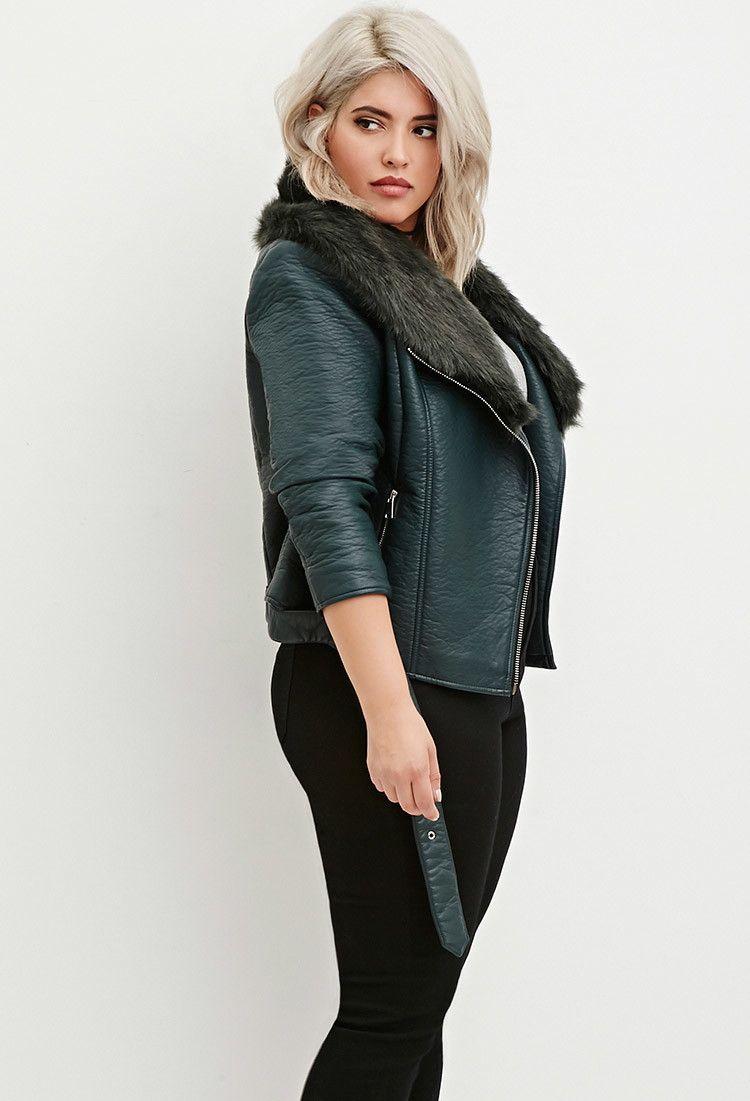 9f81ec437e5 Plus Size Faux Fur Moto Jacket