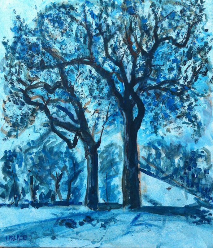 TABLEAU PEINTURE sur les hauteurs toile arbre bleu monochrome tableau achat tableau monoch - sur ...