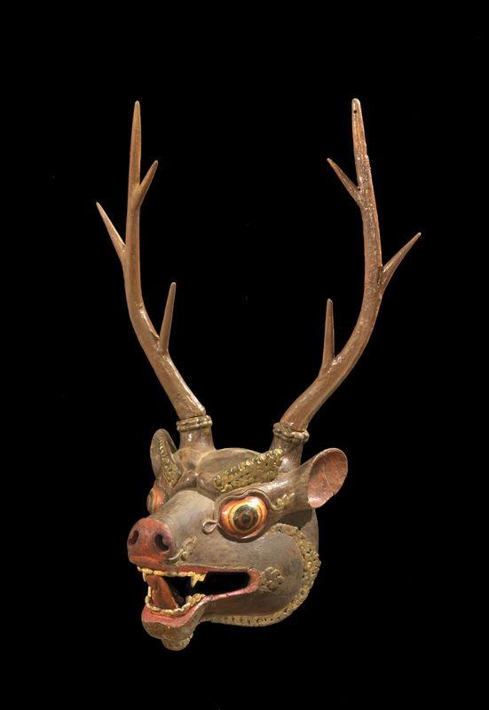 Deer Mask, 18th-19th century. Bhutan. Papier-mâché, polychrome, 35 x 24 cm. Bruce Miller Collection, 078. L161.2.21.