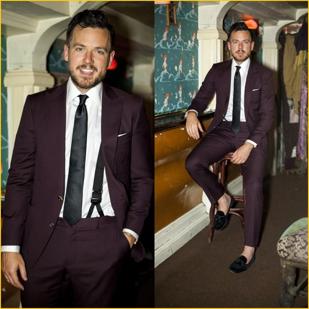 Personalized Mens Suits Slim Fit Suit Men Burgundy Tuxedos 2 Piece ...
