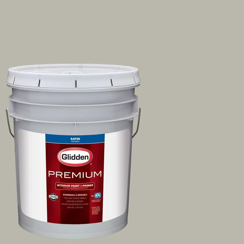 Glidden Premium 5 gal. #HDGCN01 Aged Stucco Grey Satin Interior Paint with Primer