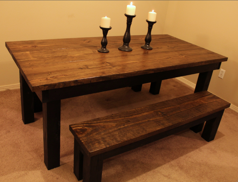 6 Foot Distressed Dining Table With Black Legs And Matching