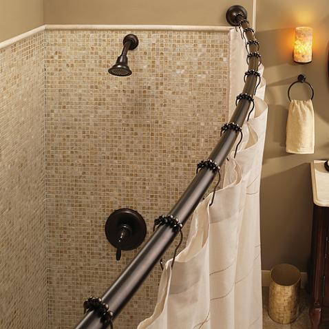 Guest Bath Moen Adjustable Curved Old World Bronze Shower Rod
