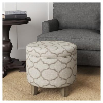 Admirable Cole Classics Round Storage Ottoman Flared Wood Leg Grey Theyellowbook Wood Chair Design Ideas Theyellowbookinfo