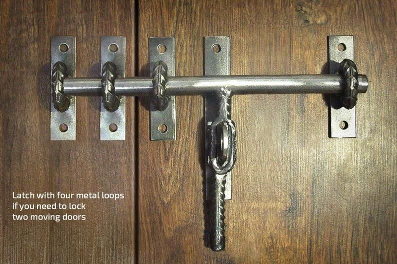 Industrial Barn Door Latch For Craft Supplies Rustic Steel Iron Rebar Farmhouse Door Equipment Gate Lock Wrought Door Hardware Iron Locks Barn Door Latch Industrial Barn Door Door Latch