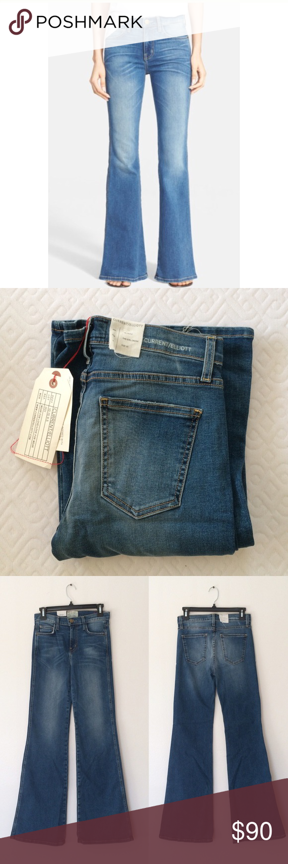 """Current/Elliott The Girl Crush Flare Jean Super trendy and perfect for fall! Zip fly with button closure. 5 pocket construction. Color dustbowl. Brand new with tag.  - Approx. 10"""" rise, 33"""" inseam Current/Elliott Jeans Flare & Wide Leg"""