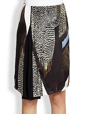 Reed Krakoff Graphic Bird Print Asymmetrical Skirt