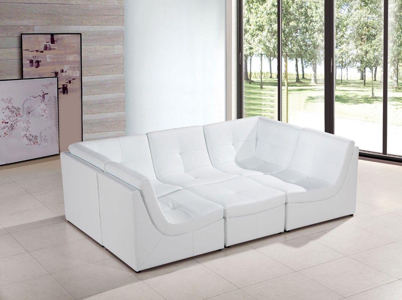 Divani Casa 207 Modern White Bonded Leather Sectional Sofa | Leather ...