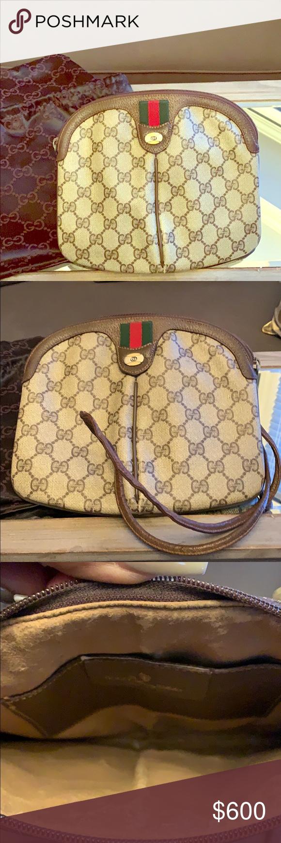 9356c0eb7fd3 Vintage Gucci Handbag❤ Vintage Gucci Webby Gg Logo leather shoulder bag.  6686 Brown