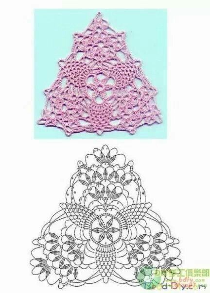 Pin by nariman aburish on crochet pattern pretty triangle pattern with pineapple motifs chart included excellent for collar decoration or bunting tutorial for crochet knitting dt1010fo