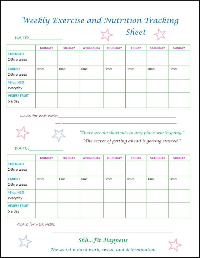 Printable Workout Sheet For Fitness Buffs Who Like To Keep