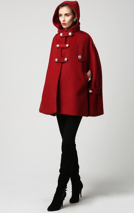 14c4acd4d13 How gorgeous is this classic red wood cape with hood