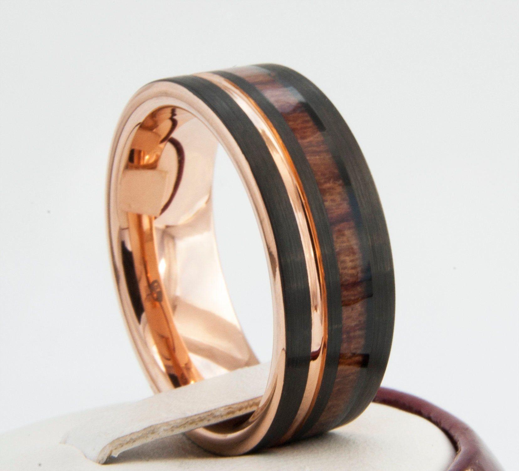 Black Tungsten Ring Rose Gold Wedding Band Wood Inlay Groove Etsy Gold Tungsten Ring Black Tungsten Rings Rose Gold Tungsten