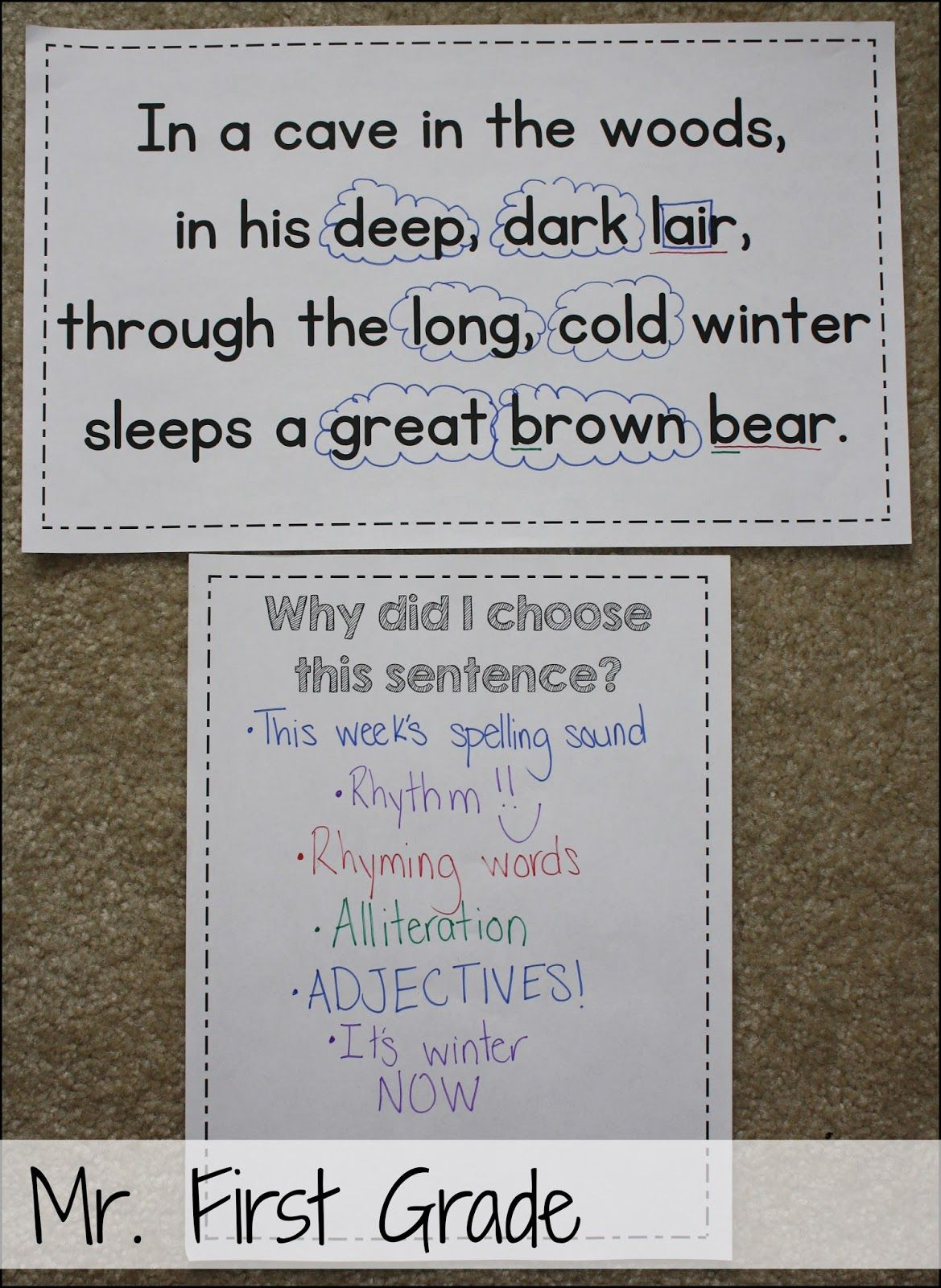 Mr First Grade Mentor Sentences Bear Snores On Adjectives