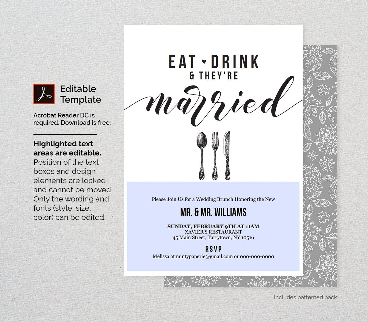 Post Wedding Brunch Invitation Template Printable Brunch Invite