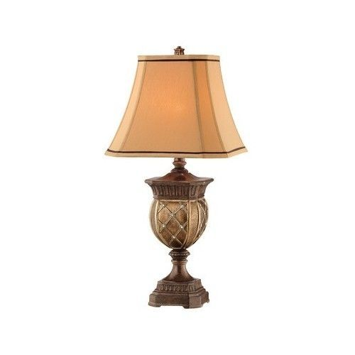Table Lamp Light 31 Inch Tall Square Shade Traditional Gold Bronze Living Room