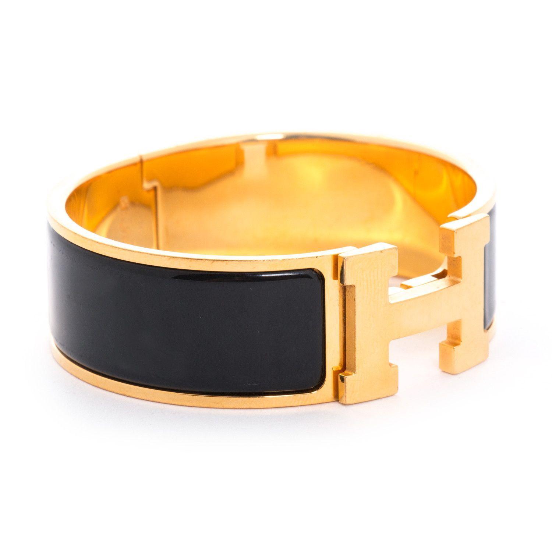5bd9e2b3189d Description  Authentic Hermès Wide Clic Clac Bracelet Details  18 Karat  Enamel Gold Plated Bracelet   Black Color Inlay   H Turn-Lock Closure Size  PM ...