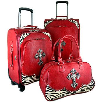 western red faux leather/zebra 3 piece luggage set | Women's ...