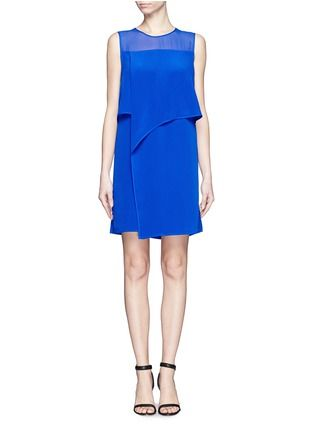 MO&CO. EDITION 10 - Fluid satin layered dress | Blue and Green Casual Dresses | Womenswear | Lane Crawford - Shop Designer Brands Online